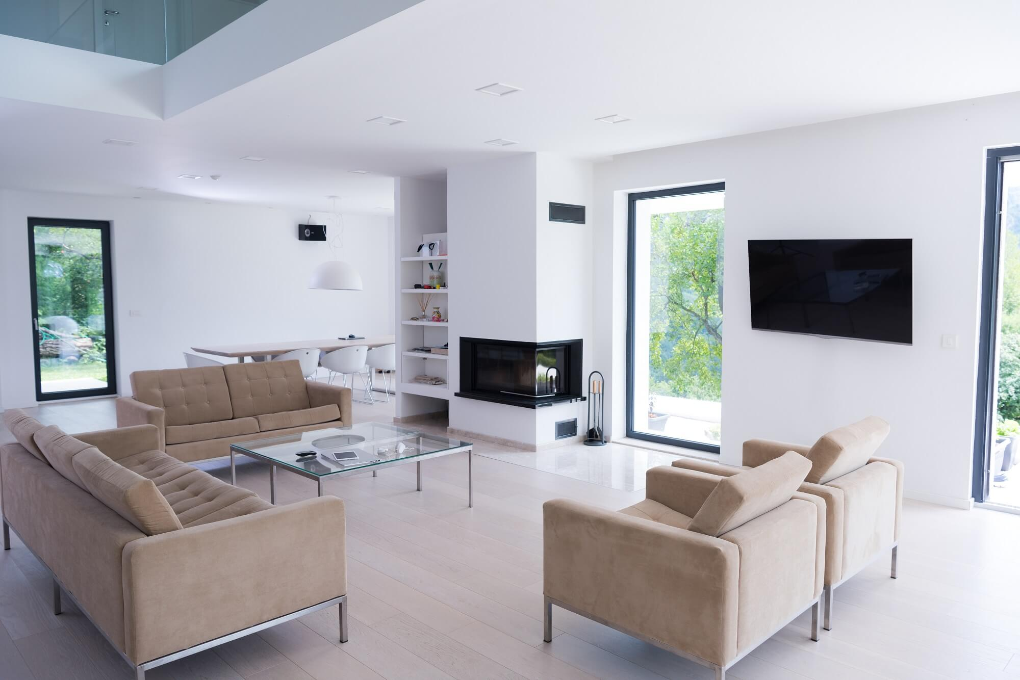 Interior of modern apartment wide living room for kitchen renovation