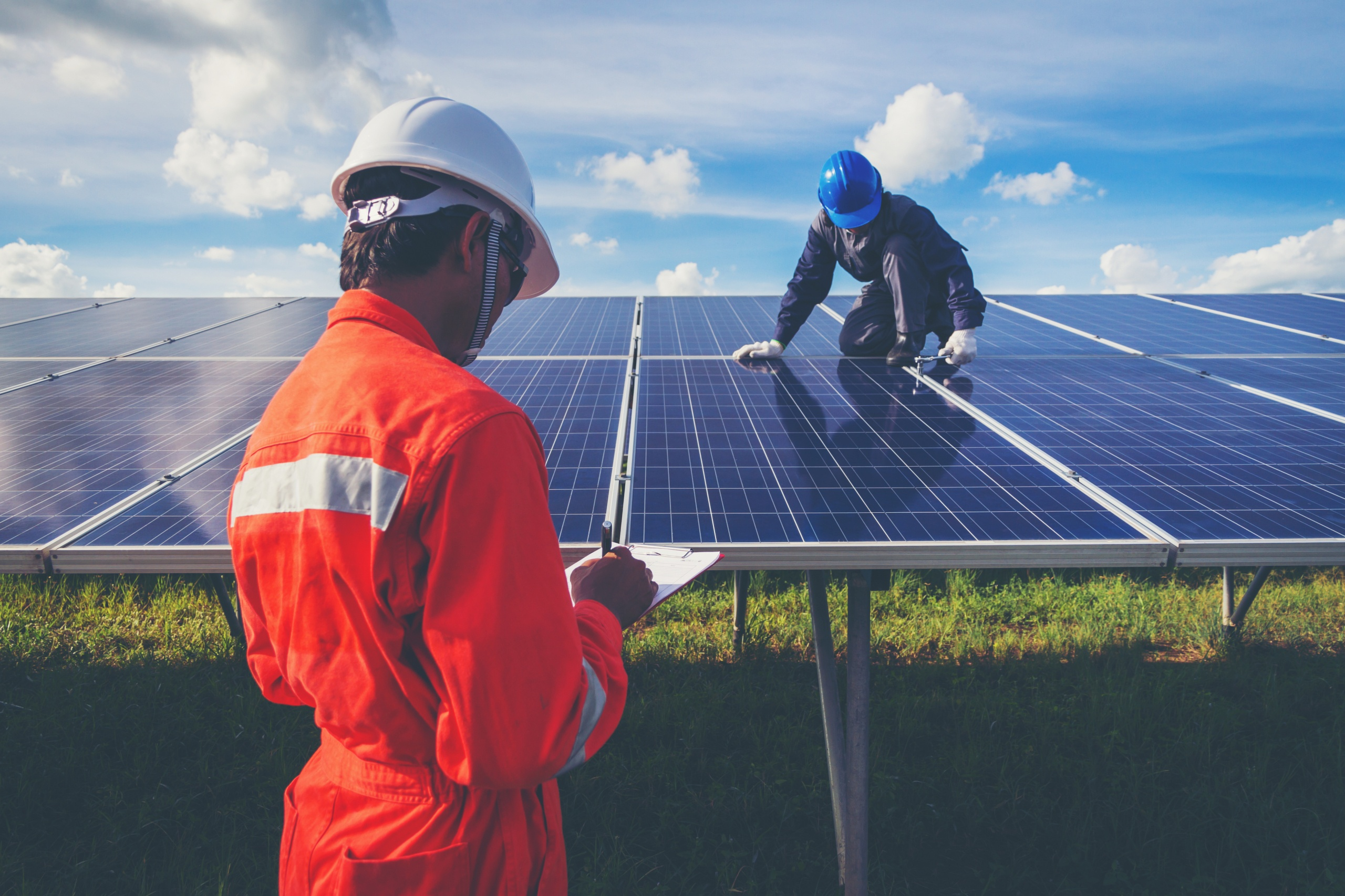 engineer working on checking and maintenance in solar power plant