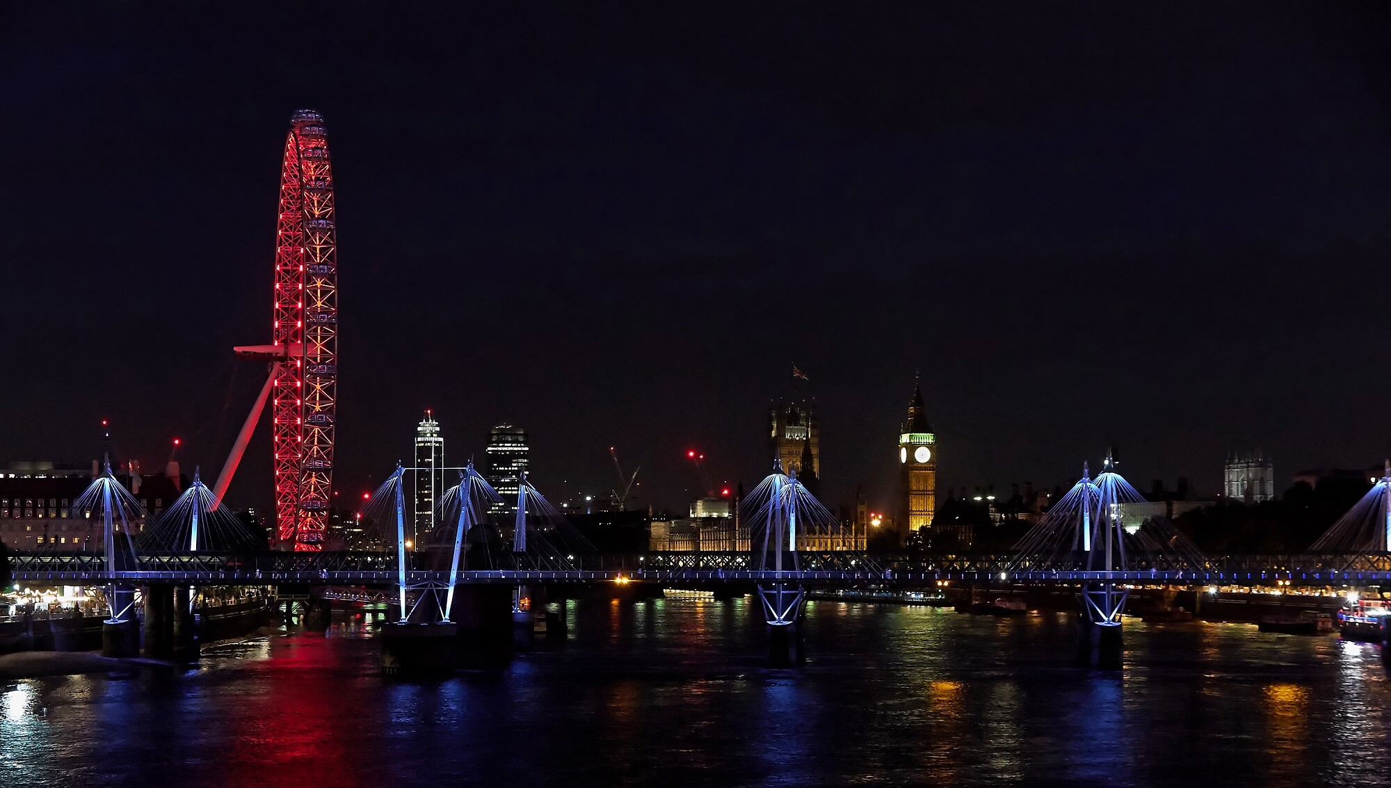 famous places in London for tourist - red lights on the London eye