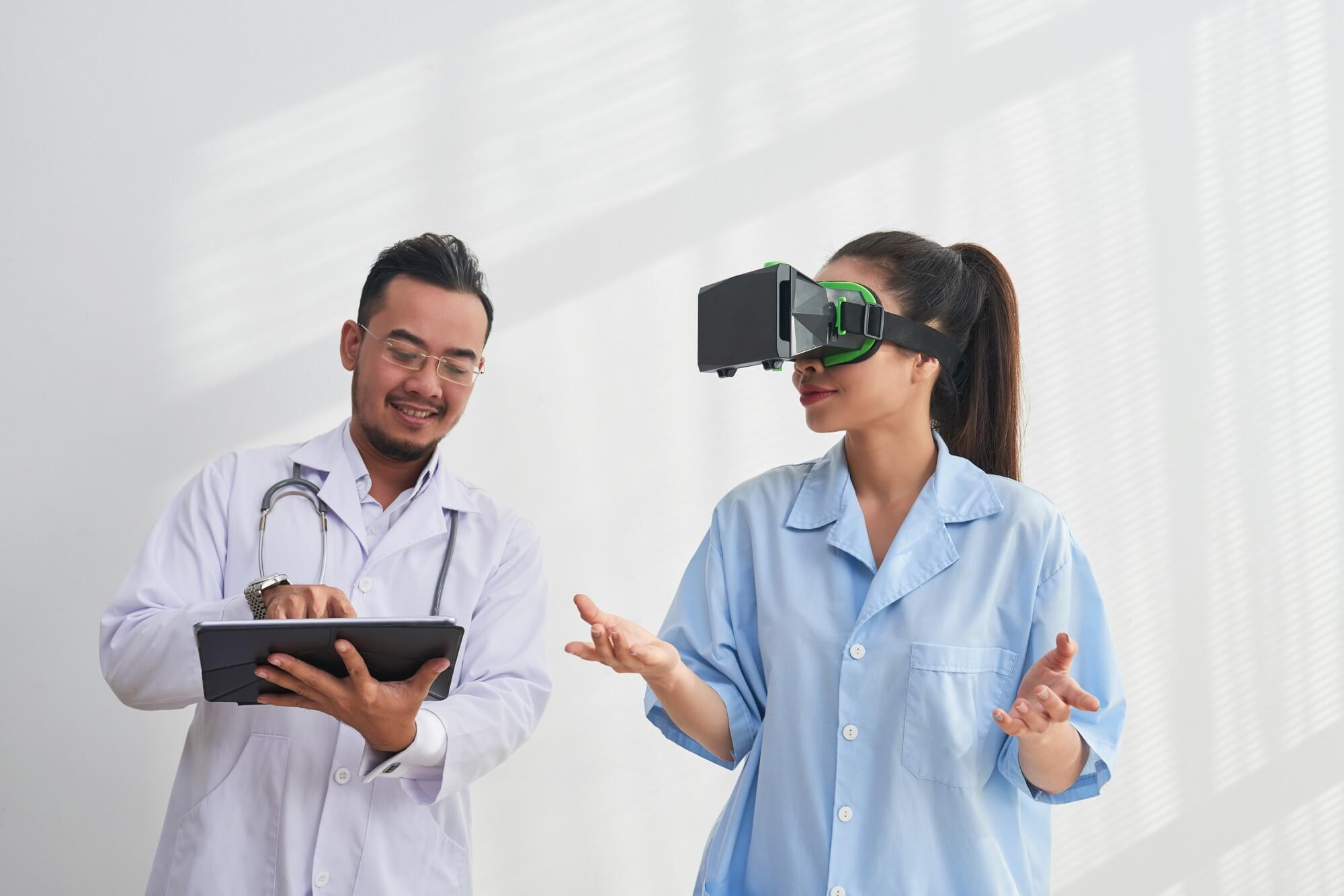 Smiling doctor controlling virtual reality application
