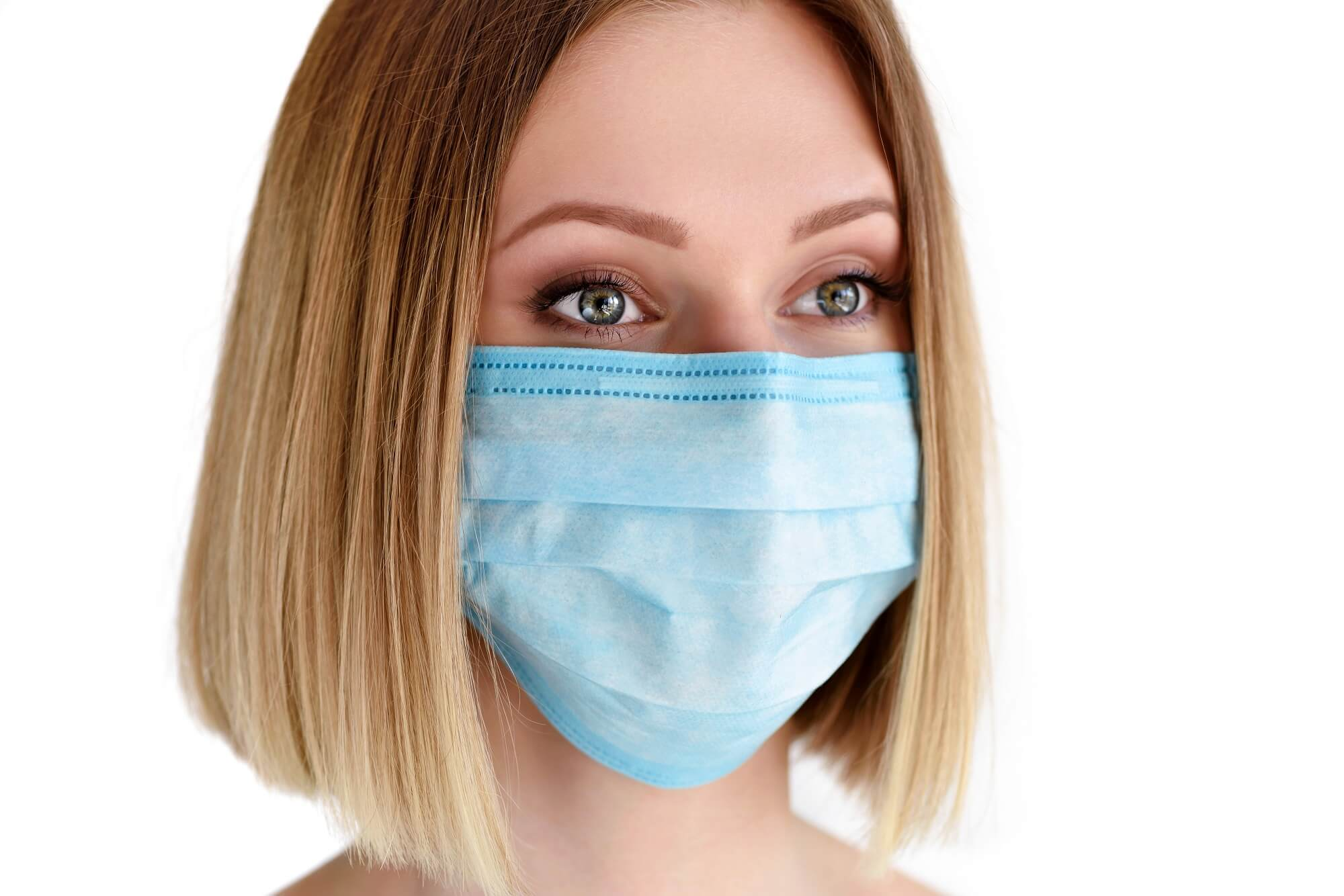 young woman in medical mask