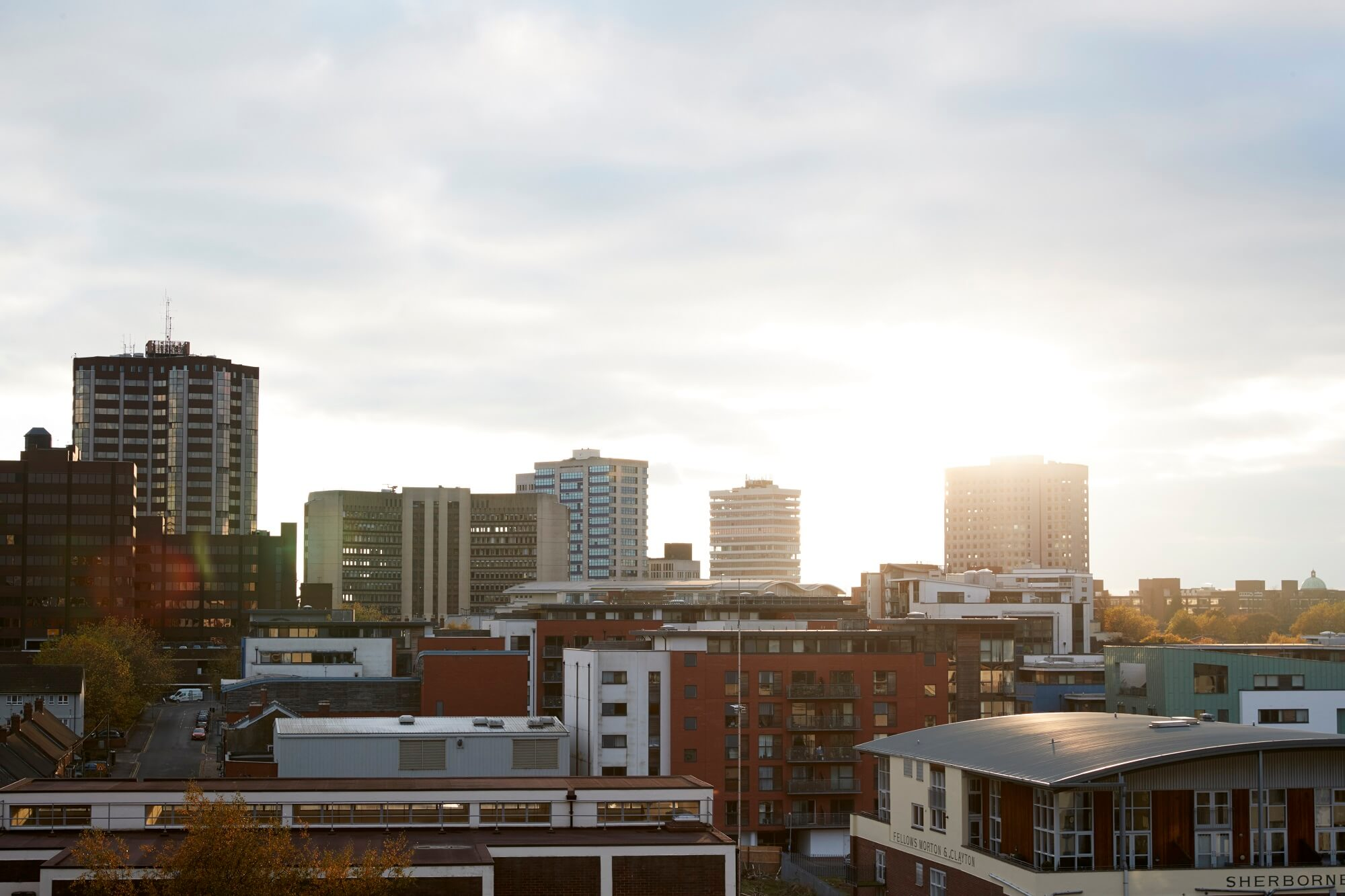 Birmingham City Skyline At Sunset