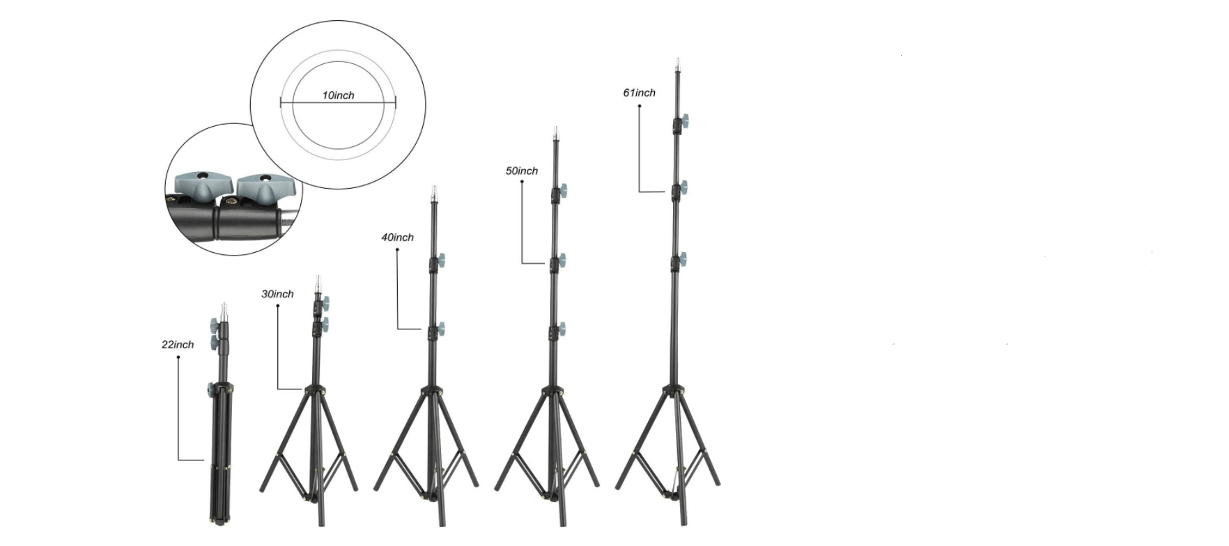 """Arespark 10"""" Selfie Ring Light with Tripod Stand height"""