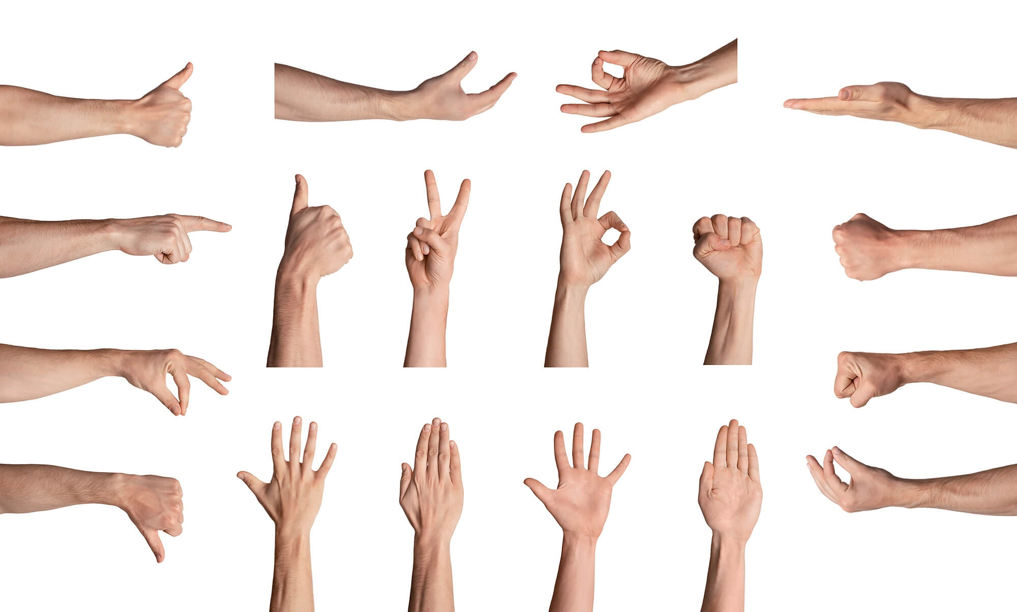 Collection of male hands gesturing different signs over white background, isolated. Collage
