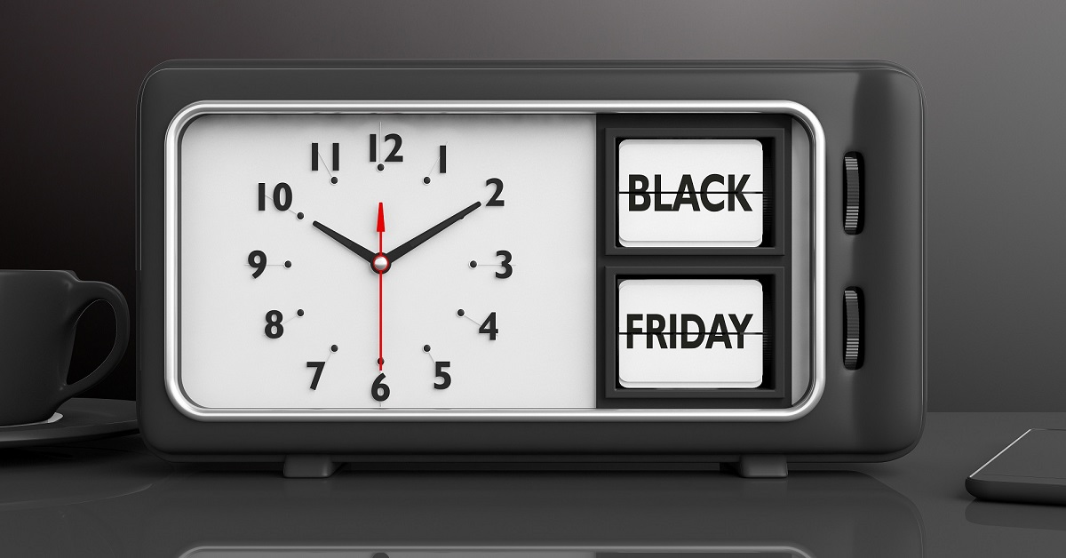 alarm clock with black Friday text