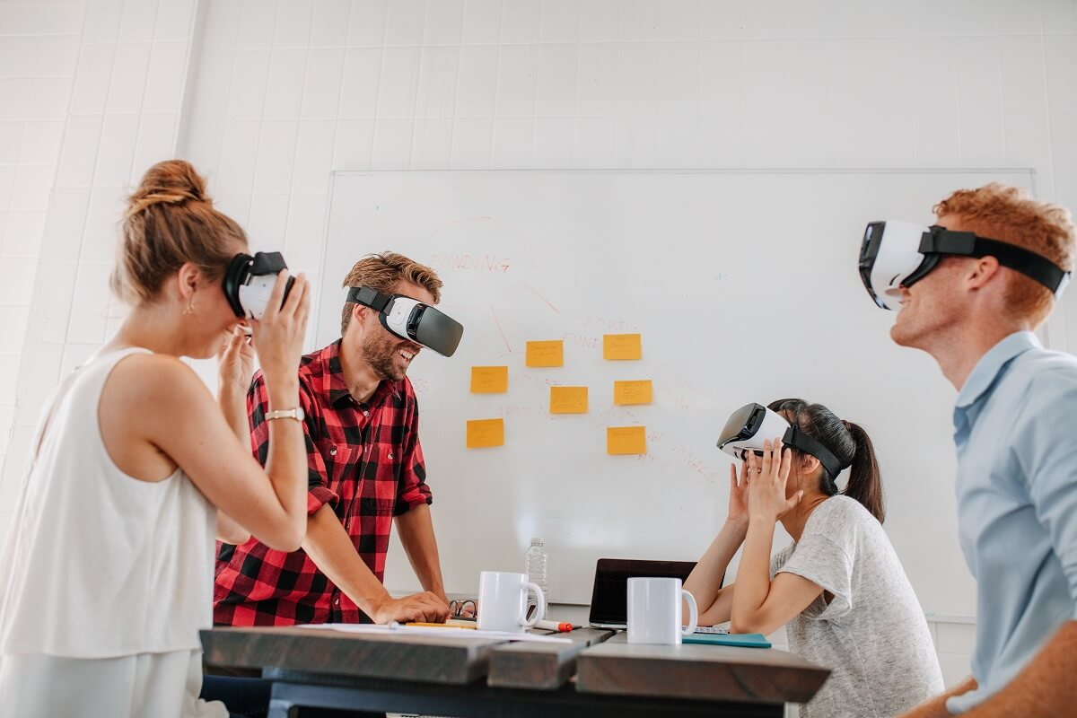 Developers meeting with virtual reality simulator