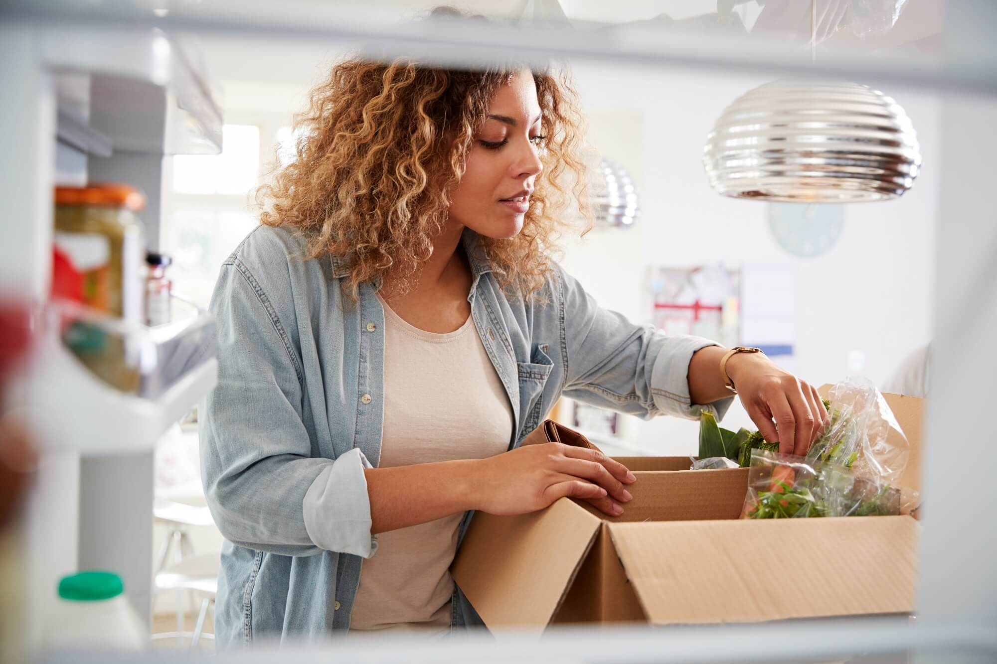 View Looking Out From Inside Of Refrigerator As Woman Unpacks Meal kit