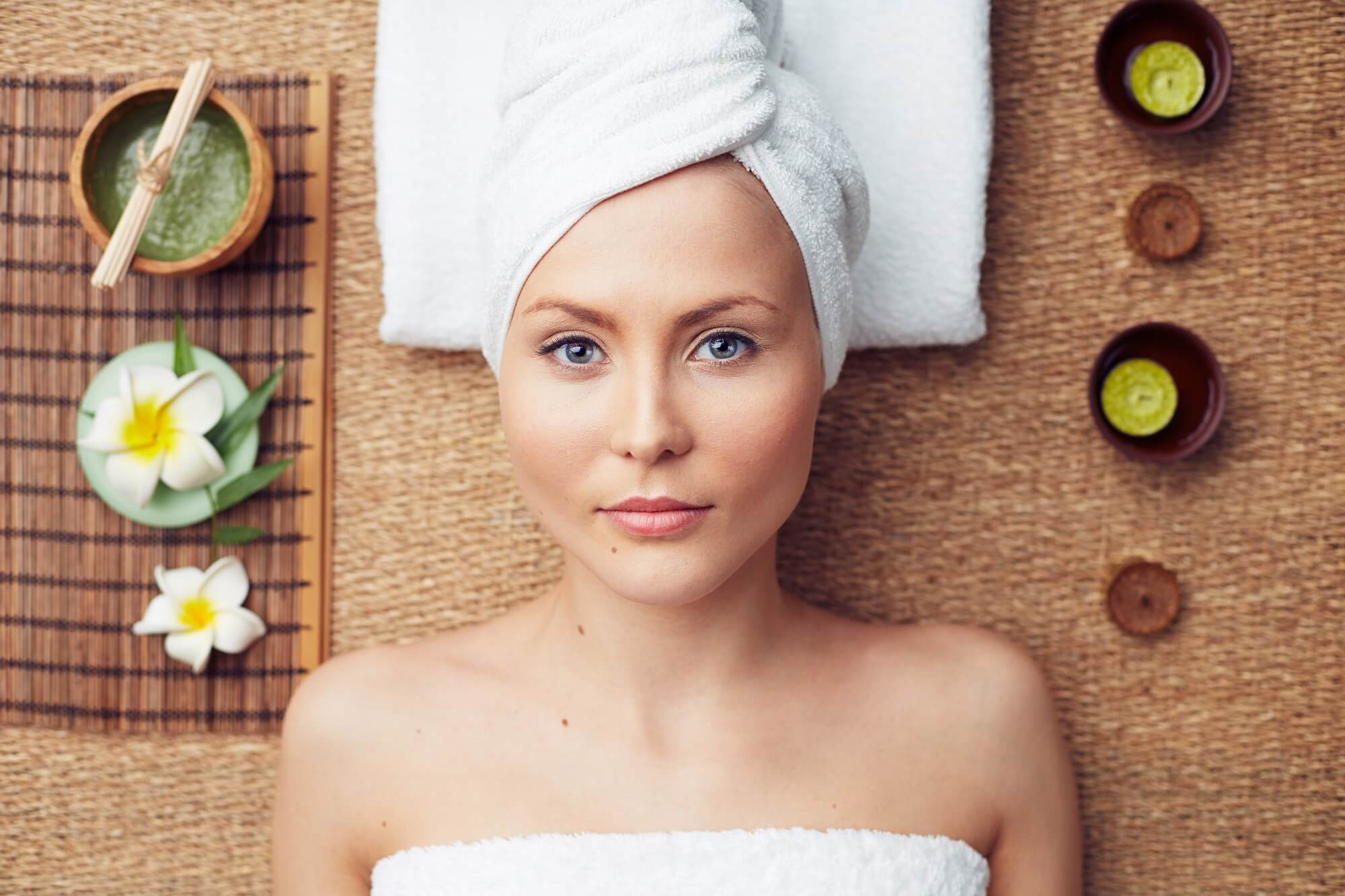 woman taking online beauty services at home