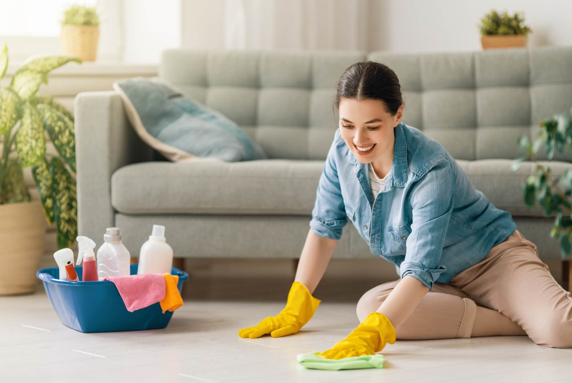 house cleaning services in process by women