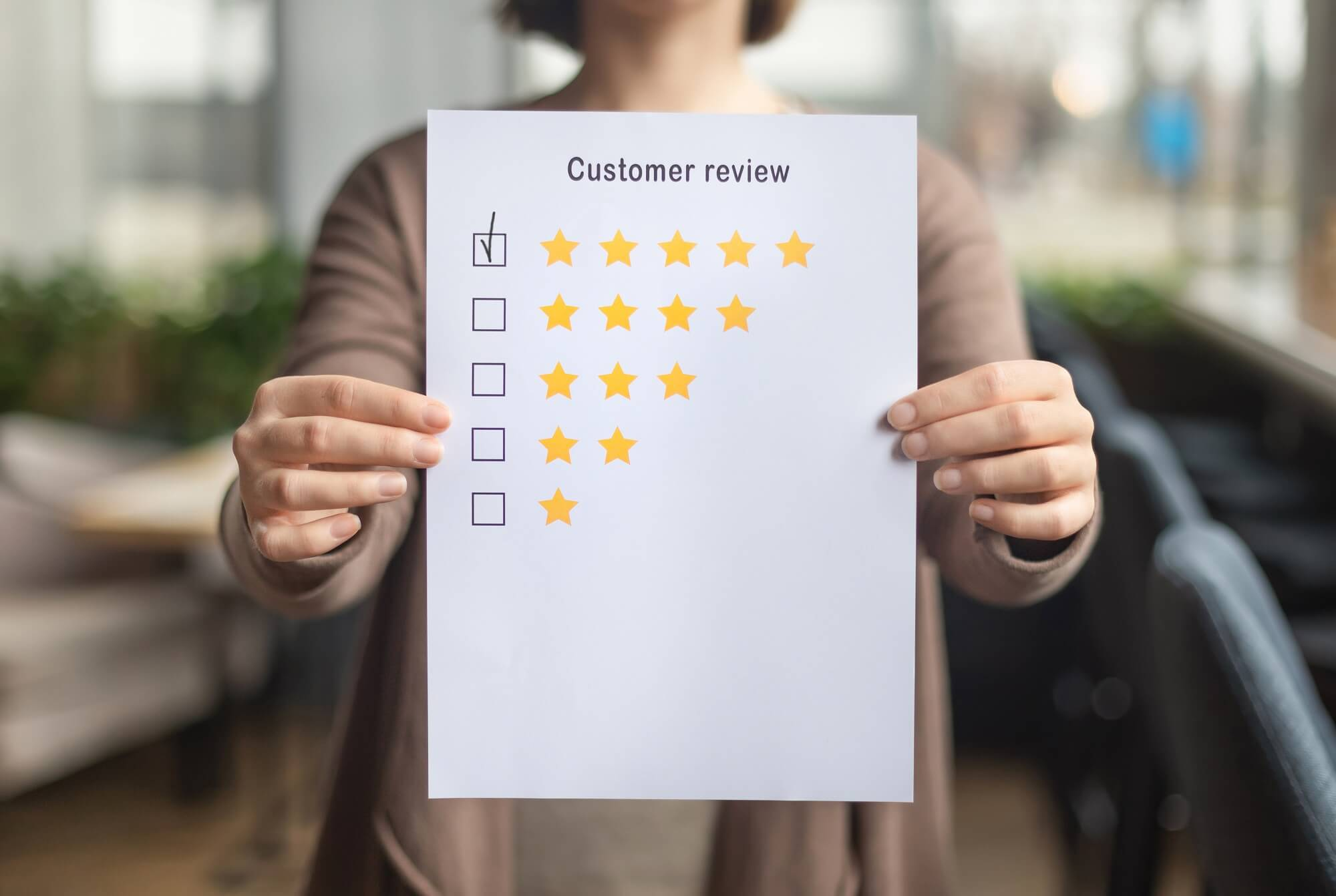 review shared by customer on paper