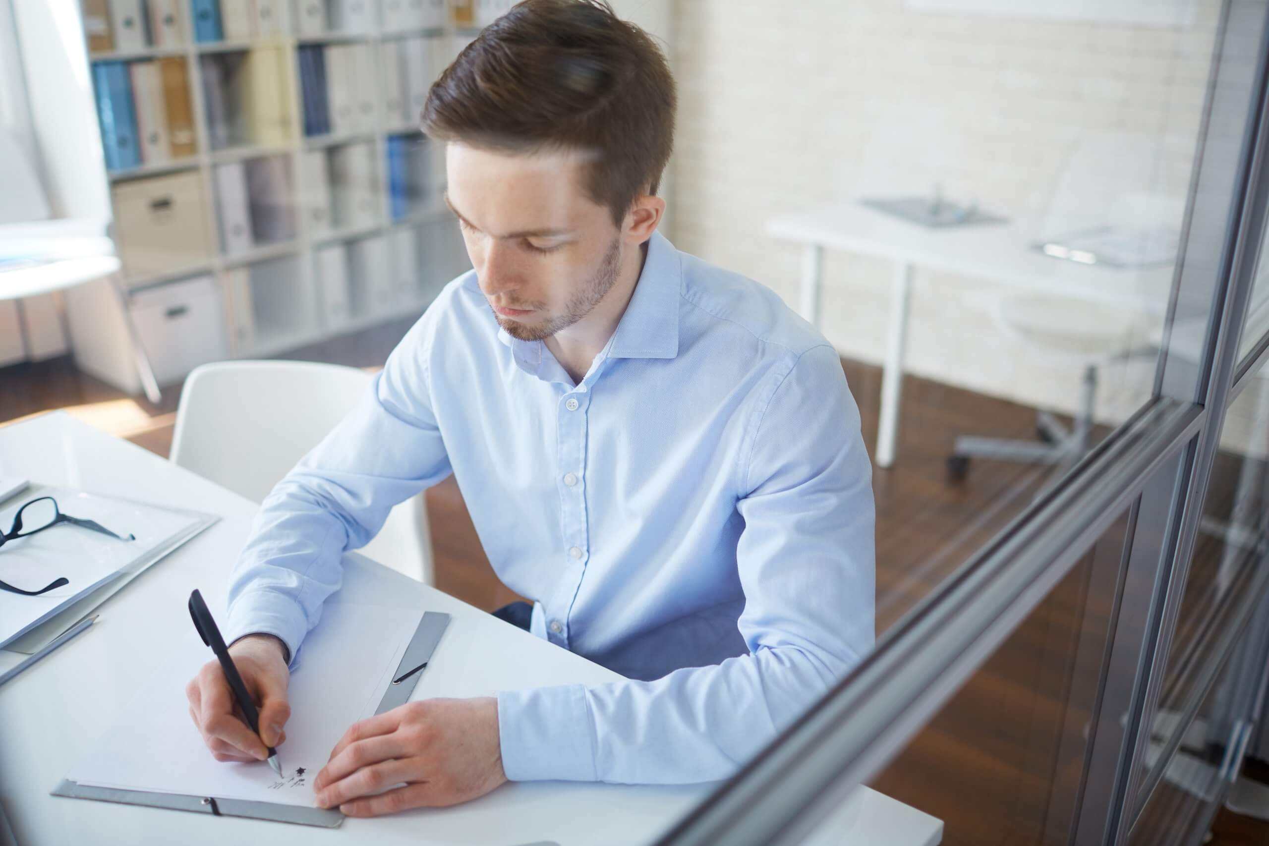 businessman creating business plan starting his own business