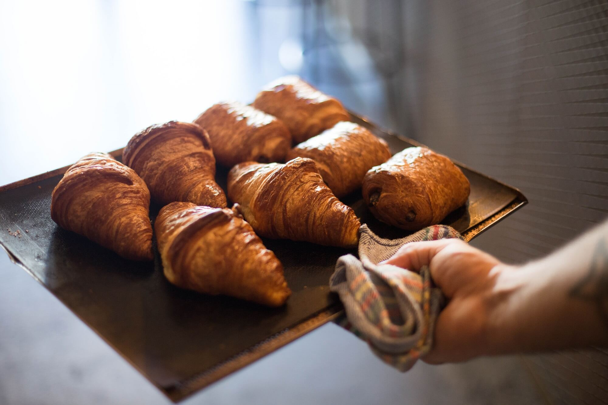 fresh puff pastry at bakery in uk